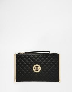 Черный стеганый клатч с ремешком на запястье Love Moschino - 000 черный