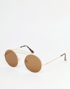 Солнцезащитные очки в круглой металлической оправе с плоскими линзами ASOS - Золотой