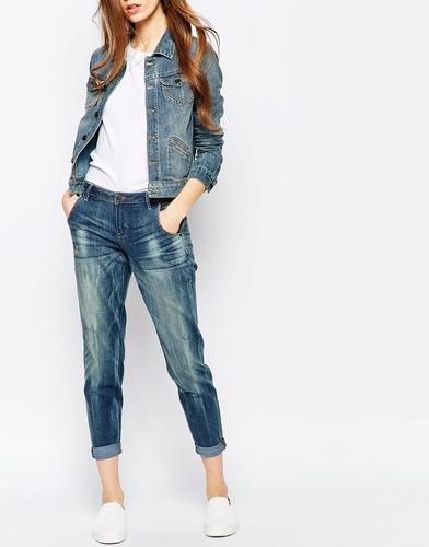 Укороченные джинсы бойфренда с классической талией Ditto's Magic Dew - Синий