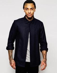 Темно-синяя рубашка из шерстяной смеси ASOS - Темно-синий