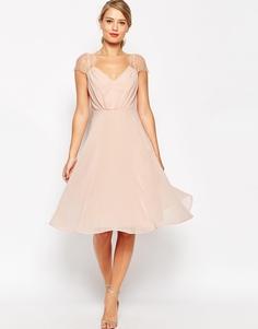 Платье миди с кружевными вставками ASOS Kate