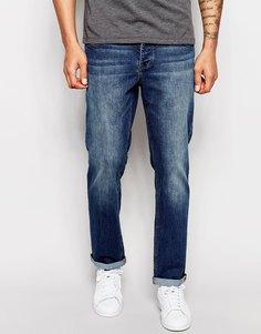 Умеренно-синие прямые джинсы стретч ASOS Green Caste - Умеренный синий