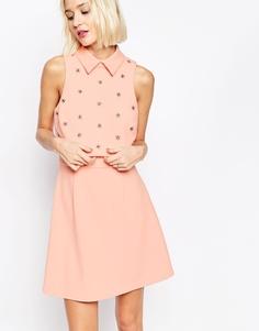 Короткое приталенное платье с укороченным топом и цветочной отделкой ASOS - Розовый