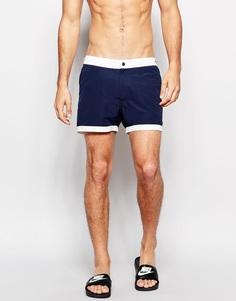 Темно-синие шорты для плавания с неэластичным поясом ASOS - Темно-синий