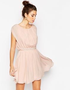 Короткое приталенное платье с декорированной талией ASOS - Темно-синий