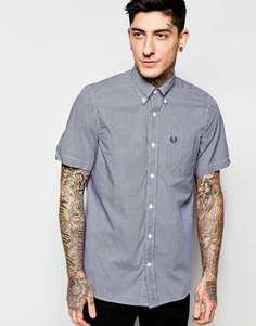 Рубашка в клеточку зауженного кроя с короткими рукавами Fred Perry - Синий