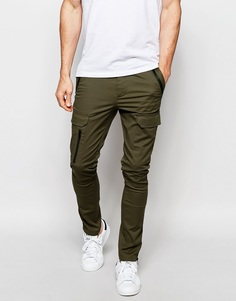 Супероблегающие брюки цвета хаки с карманами карго на молнии ASOS - Хаки