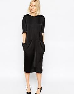 Атласное платье миди с карманами ASOS WHITE - Черный