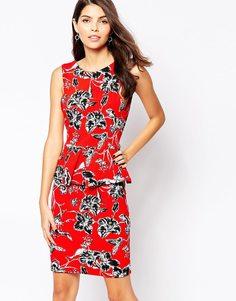 Платье миди с контрастным принтом Vesper Ania - Красный принт