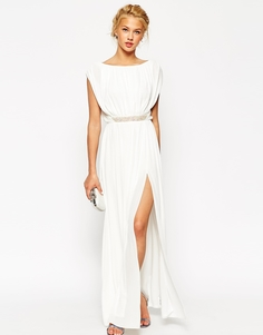 Платье макси с отделкой на талии ASOS - Телесный