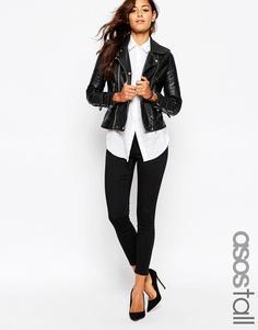 Эластичные укороченные брюки скинни ASOS TALL - Черный