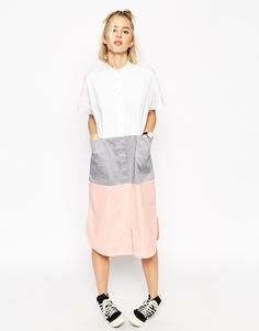 Платье-рубашка миди в стиле колор блок ASOS WHITE