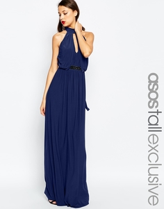 Платье макси с вырезом, лямкой через шею и отделкой на талии ASOS TALL - Темно-синий