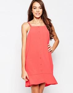 Платье-сорочка мини с оборкой на подоле Neon Rose - Tomato