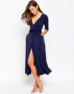 Платье макси из крепа с запахом ASOS - Темно-синий