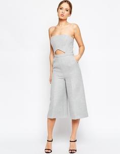 Комбинезон из фактурной ткани с вырезами ASOS Premium - Серый