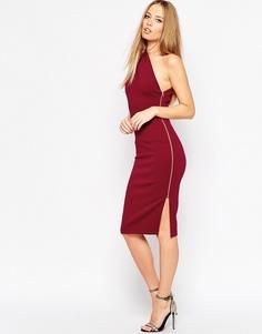 Платье миди на одно плечо с открытой молнией ASOS - Темно-бордовый