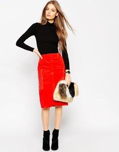 Замшевая юбка‑карандаш с кожаными карманами ASOS - Оранжевый