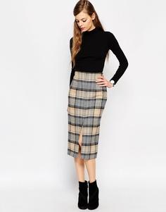 Шерстяная юбка-карандаш в клетку ASOS Premium - Бежевый клетчатый