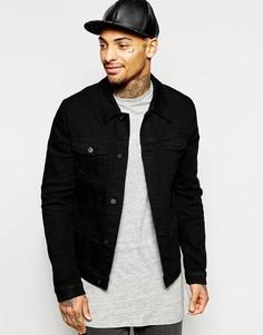 Черная джинсовая куртка зауженного кроя ASOS - Черный
