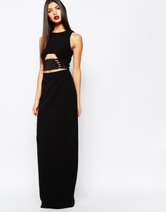 Платье макси с отделкой на талии AQAQ Muscan - Черный