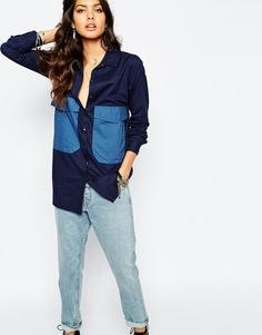 Рубашка с карманом спереди Noisy May - Темно-синий