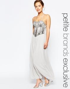 Платье-бандо макси с отделкой на лифе Maya Petite - Серый