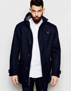 Шерстяное пальто с капюшоном Farah - Темно-синий