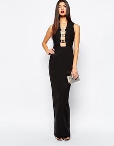 Платье-футляр макси с декольте и металлической отделкой AQAQ Climax - Черный