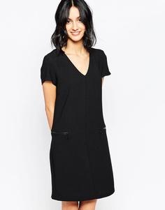 Цельнокройное платье с V‑образным вырезом и молниями Only - Черный