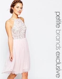Платье для выпускного с отделкой пайетками и тюлевой юбкой Maya Petite - Blush