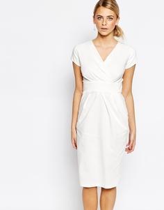Платье-тюльпан с запахом спереди Closet - Кремовый