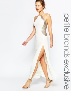 Платье макси с отделкой пайетками Maya Petite - Кремовый