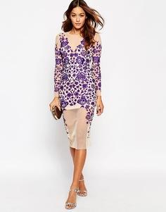 Облегающее платье миди с кружевной отделкой и вышивкой ASOS - Фиолетовый