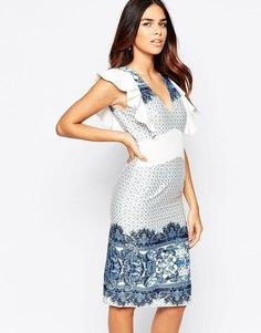 Облегающее платье с принтом Traffic People Pandora Loves - Синий