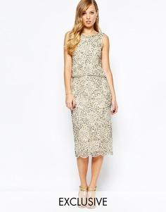 Блестящее платье миди 2-в-1 с отделкой Frock and Frill
