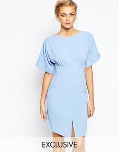 Платье миди с завязкой сзади и разрезом спереди Closet - Бледно-синий