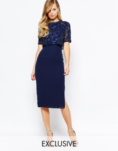 Платье-футляр с открытой спиной и разрезом Frock and Frill - Темно-синий