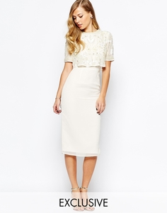 Платье-футляр с открытой спиной и разрезом Frock and Frill - Кремовый