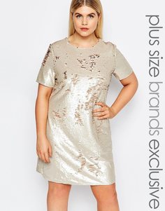 Цельнокройное платье с короткими рукавами и пайетками Club L Plus - Мульти