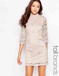 Кружевное платье с рукавами до локтя Vero Moda Tall - Шампанское