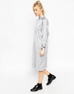 Платье-рубашка с рукавом летучая мышь ASOS WHITE - Серый