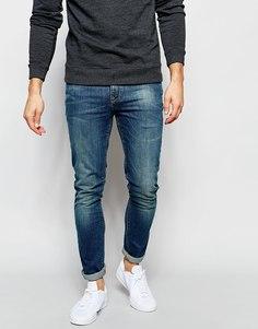 Голубые супероблегающие джинсы скинни ASOS - Грязно-синий