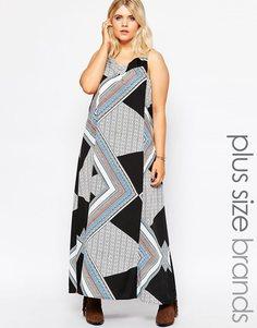 Платье макси с геометрическим принтом Diya Plus - Мульти