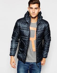Стеганая куртка с капюшоном и неброским камуфляжным принтом Replay - Синий