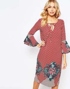 Платье миди с принтом и рукавами-колокол Love - Красный принт