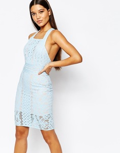 Платье миди с кружевными вставками и квадратным вырезом Love