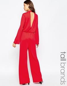 Комбинезон с широкими штанинами и вырезом капелькой Vero Moda Tall - Красный