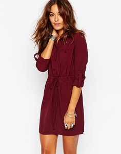 Платье-рубашка в стиле милитари Missguided - Burgundy