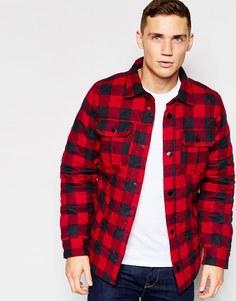 Стеганая куртка в клетку в рубашечном стиле Hollister - Красный